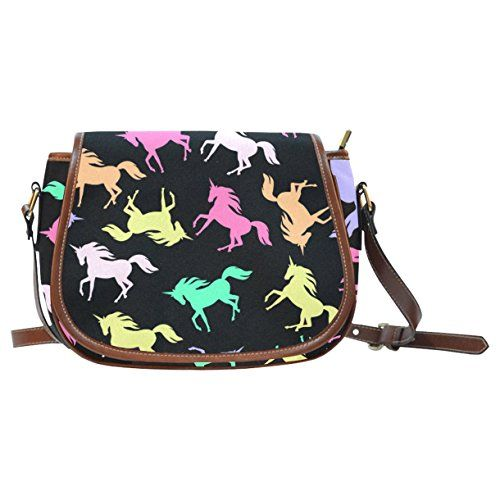 CASECOCO Hipster Unicorn Black Messenger Crossbody Travel Saddle Bag Purse * Click image to review more details.