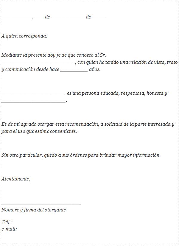 Carta De Recomendación Personal Como Hacer Ejemplos Y Plantillas Cartas De Recomendacion Plantillas De Cartas Puestos De Trabajo