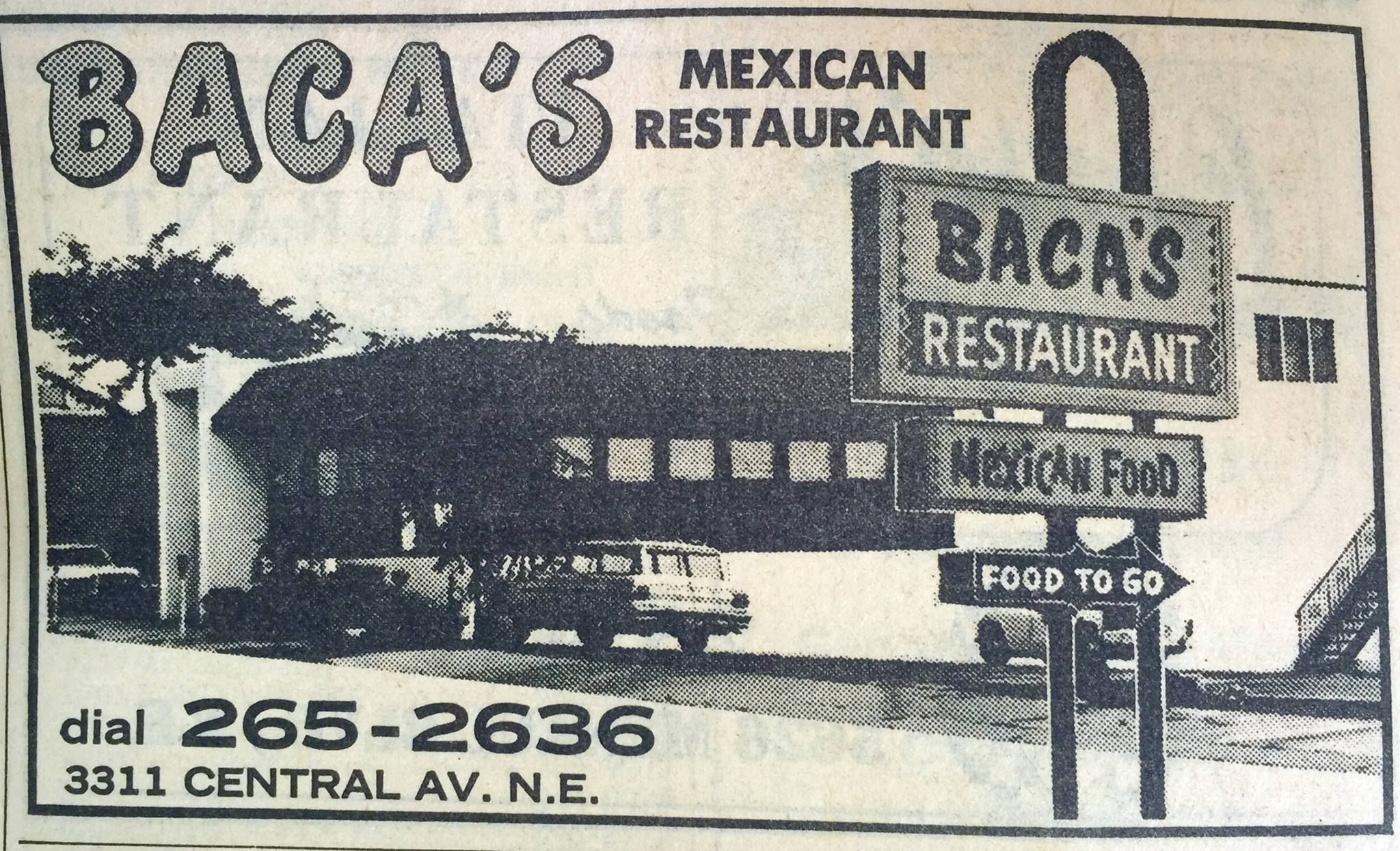 Baca S Mexican Restuarant Vintage Albuquerque In 2019