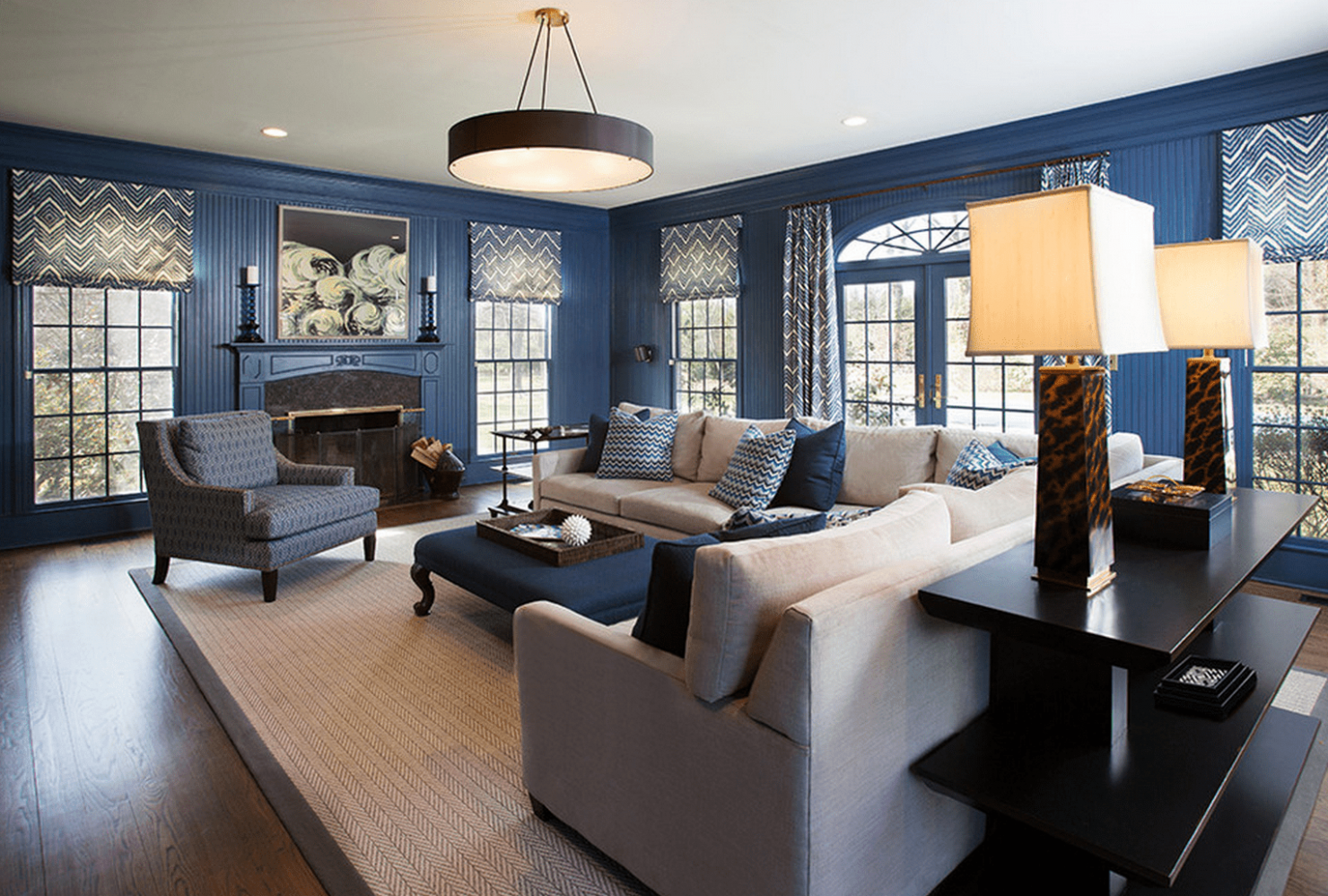 Navy And Grey in 2020 (With images)   Blue grey living ...
