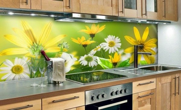 panou de sticlă de fundal flori de luncă bucătărie verde kitchen - küchenrückwand glas bedruckt