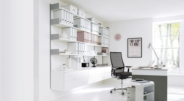 Büroregal ONWALL Wandschienen Regal im Büro