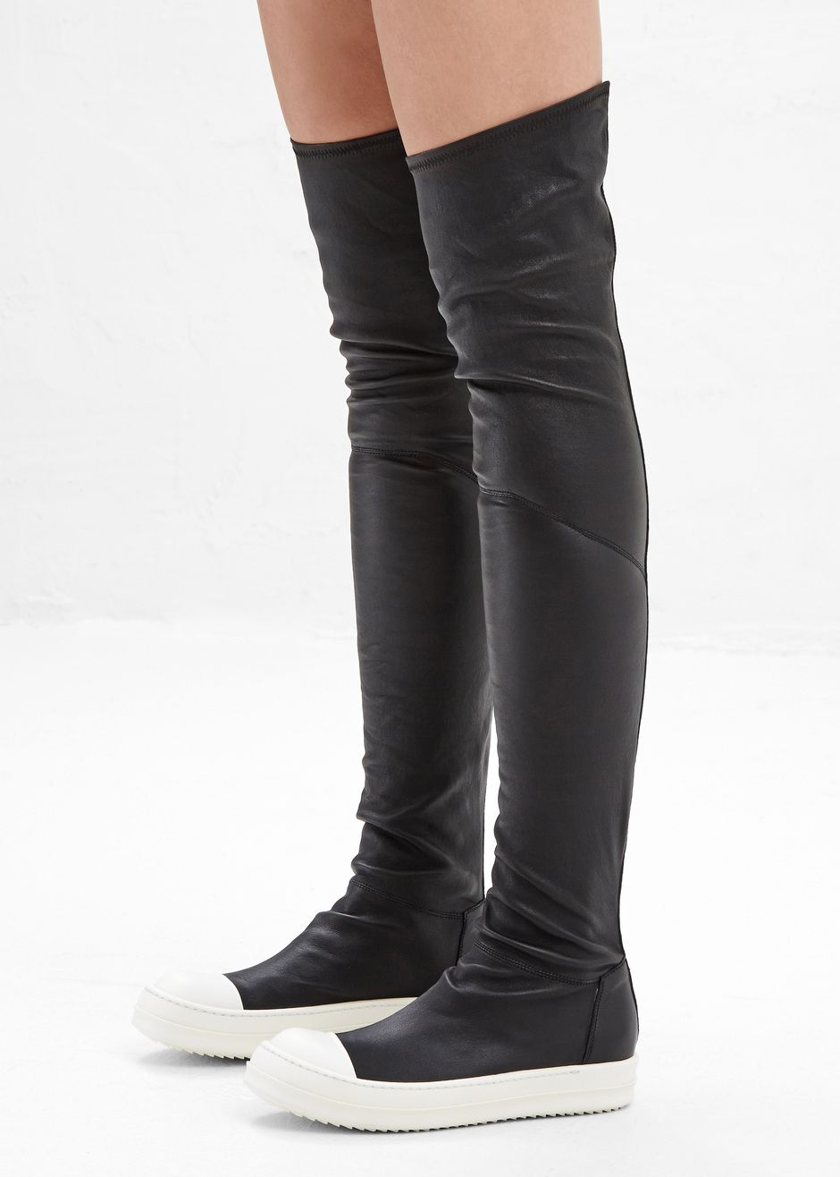 Totokaelo - Rick Owens Black / White Thigh High Sneakers ...