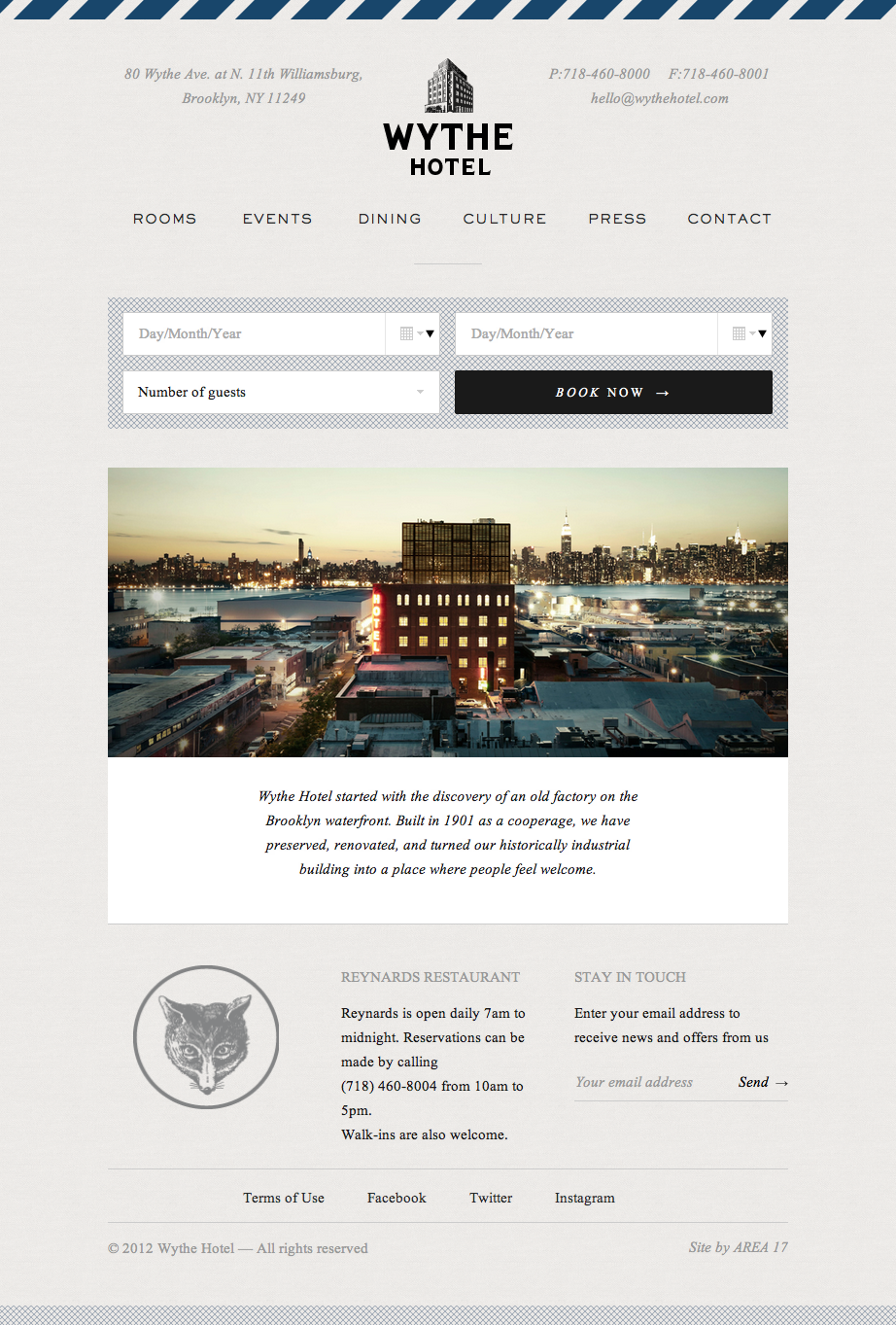 wythe hotel #web #design #layout #ui