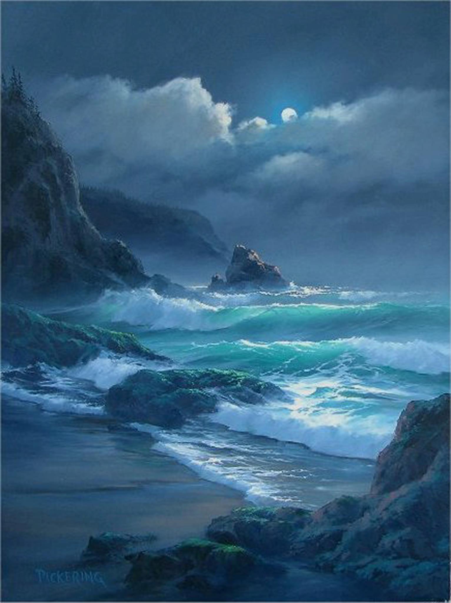 Evening Ocean Painting Seascape Paintings Ocean Art