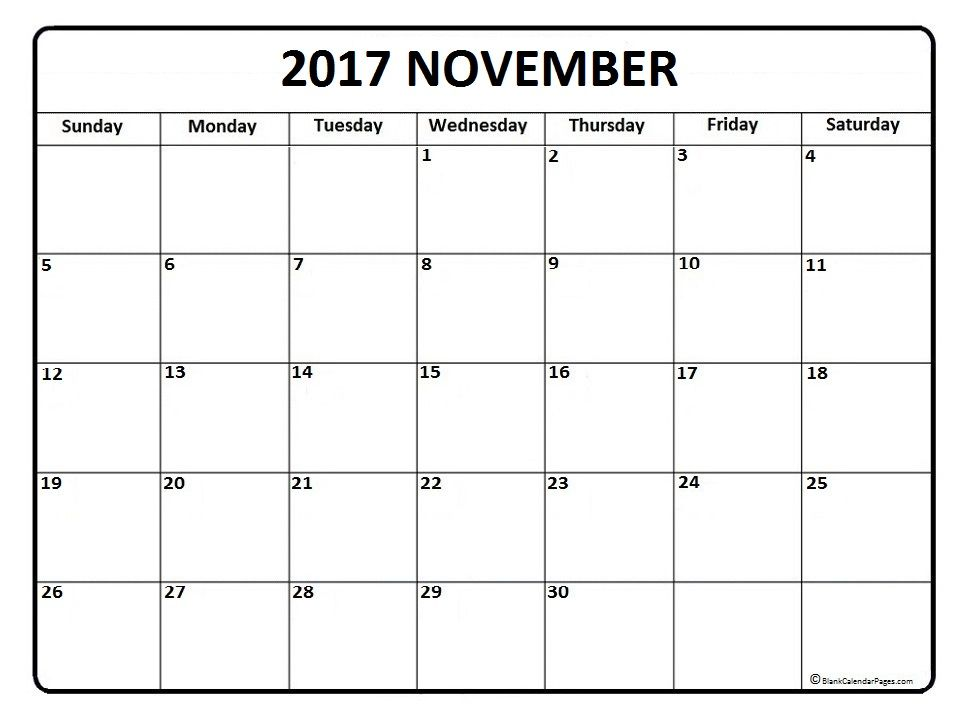 picture about Free Printable November Calendar named November calendar 2017 printable and totally free blank calendar