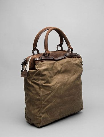 krane: hamlin tote-messenger in field tan waxed cotton , brown leather trim @revolve clothing