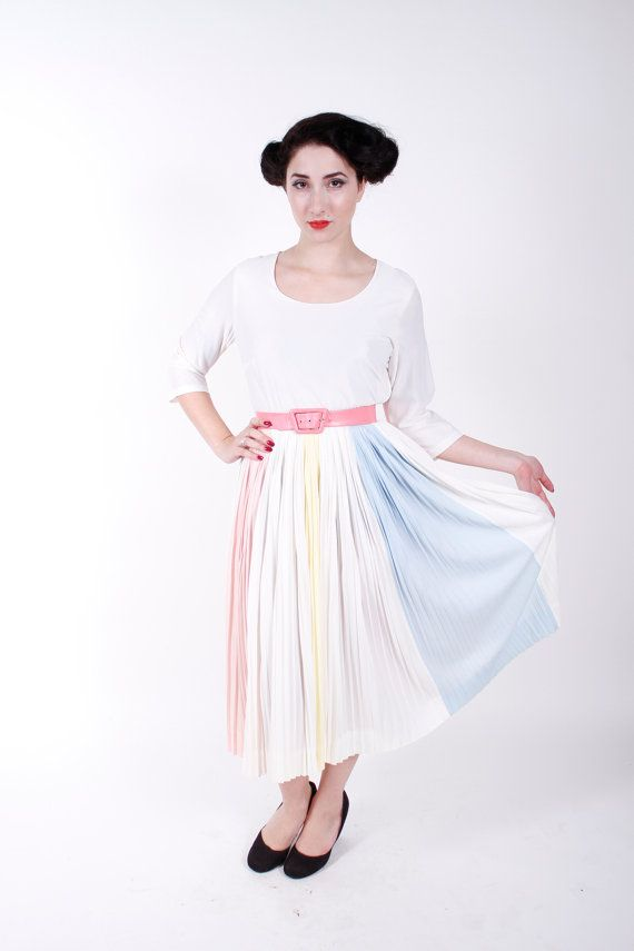Vintage 50s Dress Pastel Blue Pink Yellow White by stutterinmama, $64.00