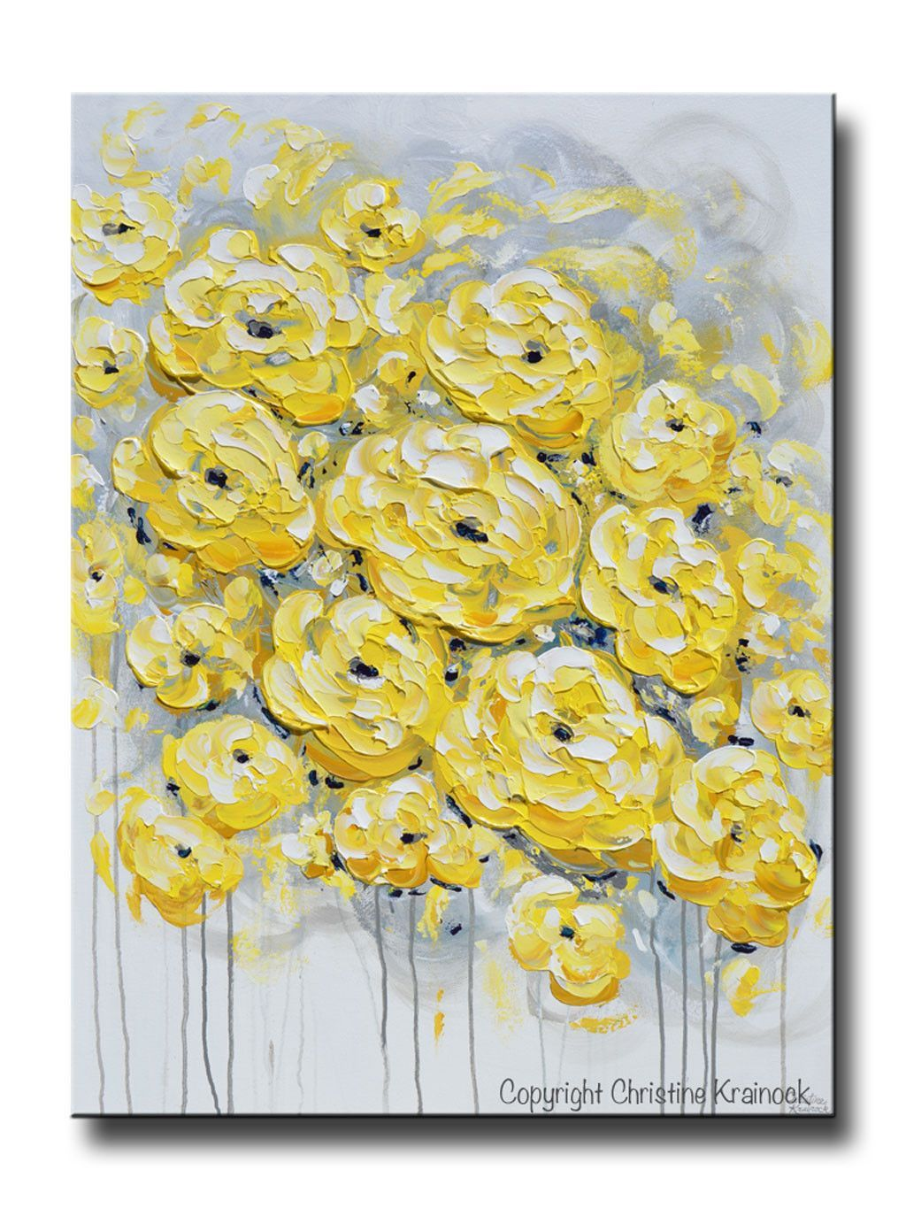 ORIGINAL Art Yellow Grey Abstract Painting Flowers LARGE Wall Art ...
