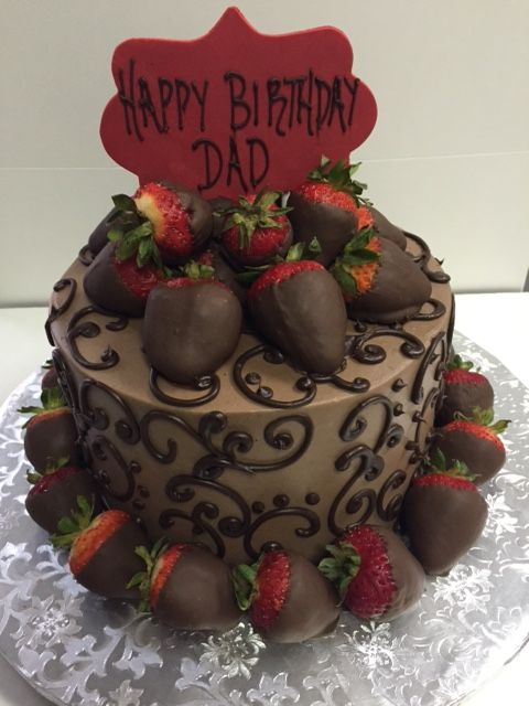 Chocolate Round Cake With Chocolate Covered Strawberries For A