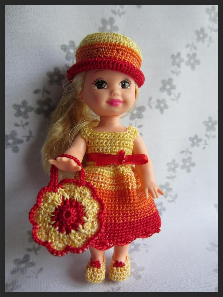 "Kelly Doll Crochet Clothes ""Color Palette"", bag and shoes!!!"