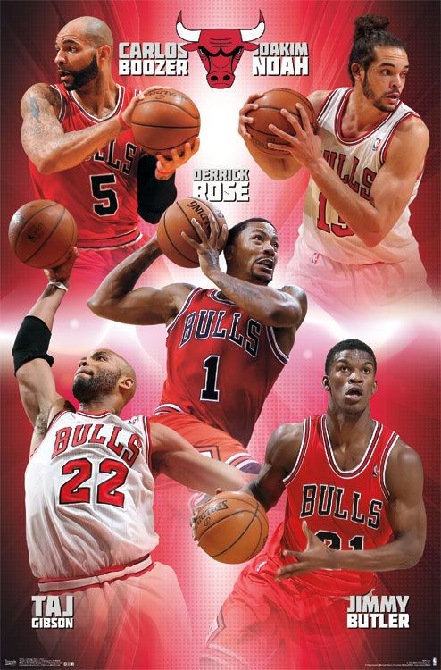 Derrick Rose Carlos Boozer Taj Gibson And Jimmy Butler Chicago Bulls Team Chicago Bulls Carlos Boozer