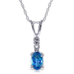 14K Solid White Gold Ball In Court Blue Topaz Diamond Necklace - 3034-W