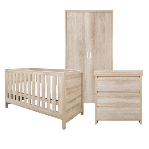Kiddy Style Oak Furniture Set All In Very Good Condition Includes Cot Bed Which Also Turns Into A Toddler Wardrobe With Drawer 2 Shelves And