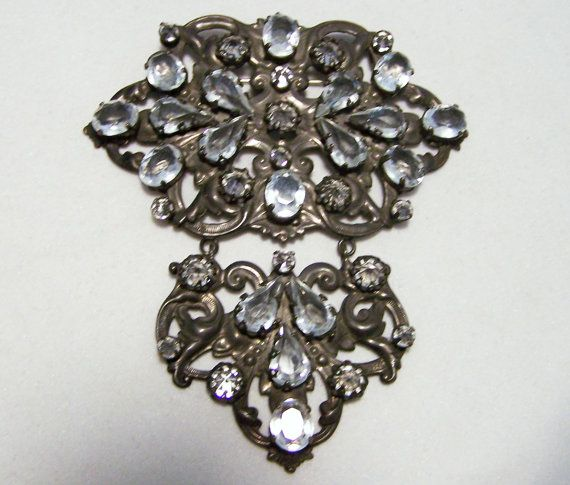 Schreiner New York Rhinestone Statement Pin Necklace Combo Repousse Setting  Mid Century 416DGZ
