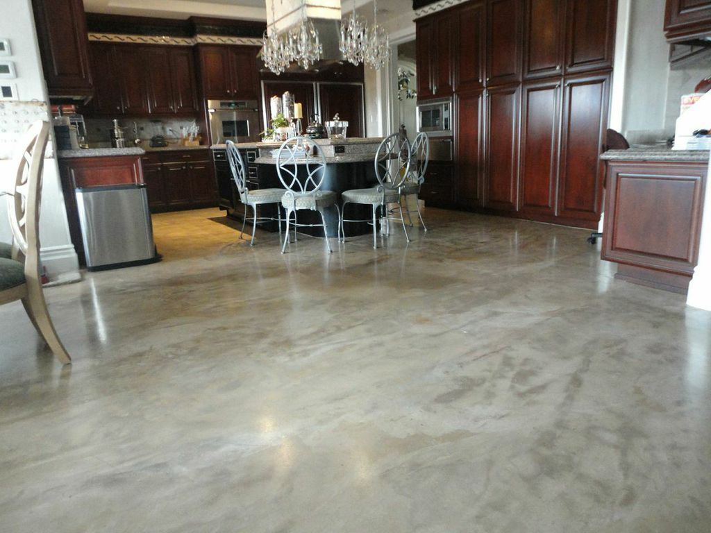 Dining Room Floor Remodeled Without Removal With SEMCOs Seamless Stone Flooring In Polished Bond Finish