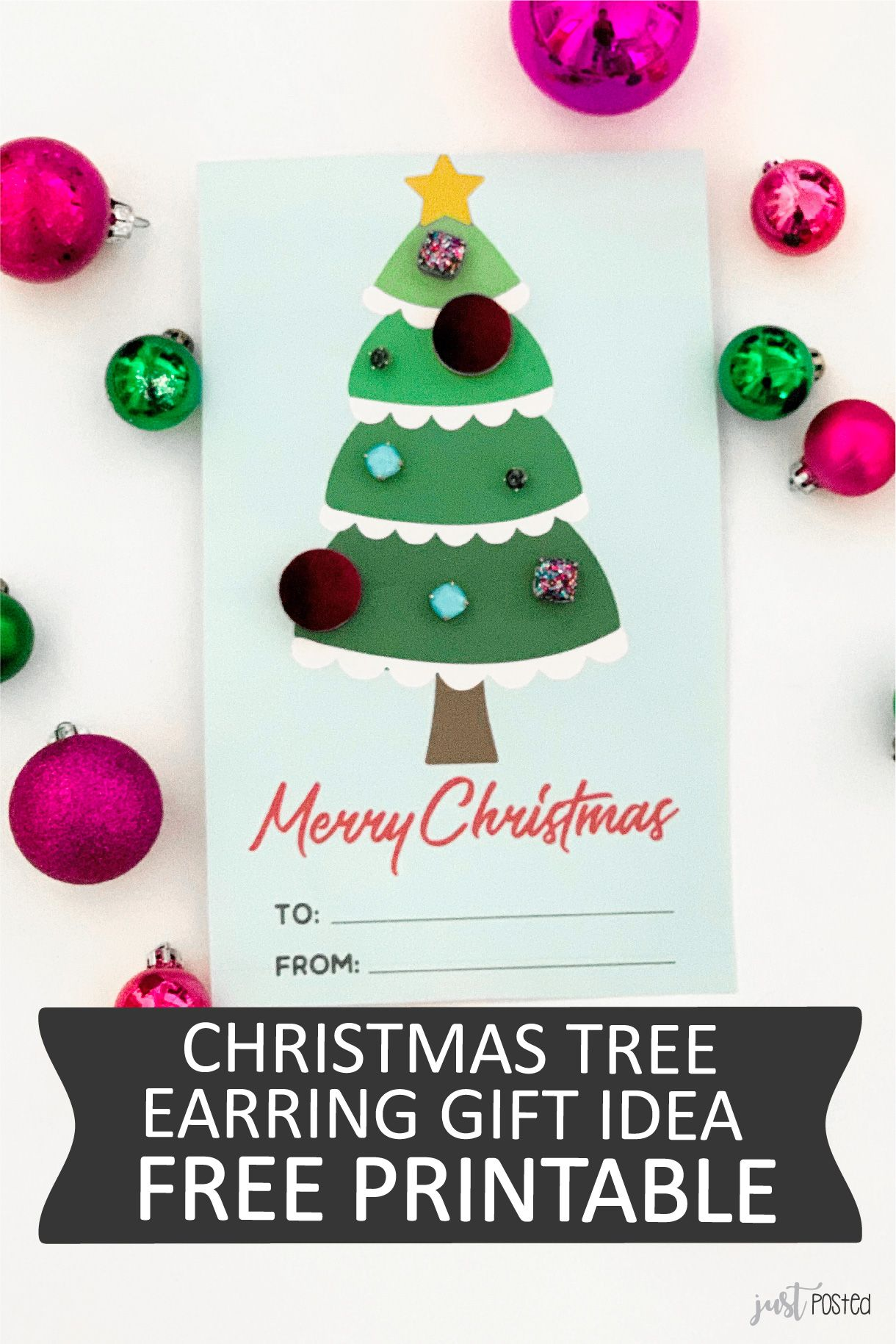 Free Printable Earring Tree Christmas And Holiday Gift Decorate The Tree With Earrings Gi Teacher Christmas Gifts Christmas Tree Earrings Teacher Gift Tags