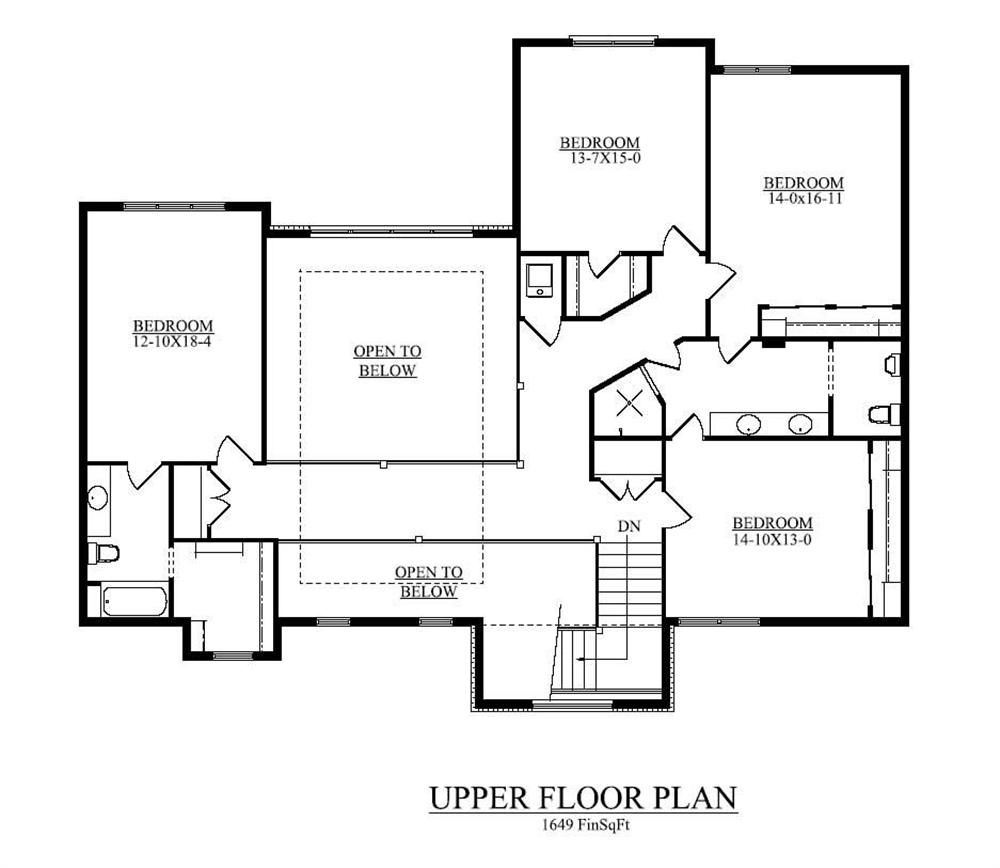 Floor plan second story open to below all bedrooms for Upstairs plans