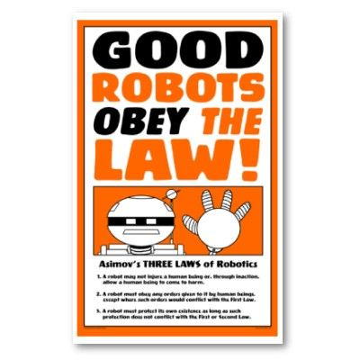 Asimov S Three Laws Of Robotics Poster Riddle Which Rule Proves
