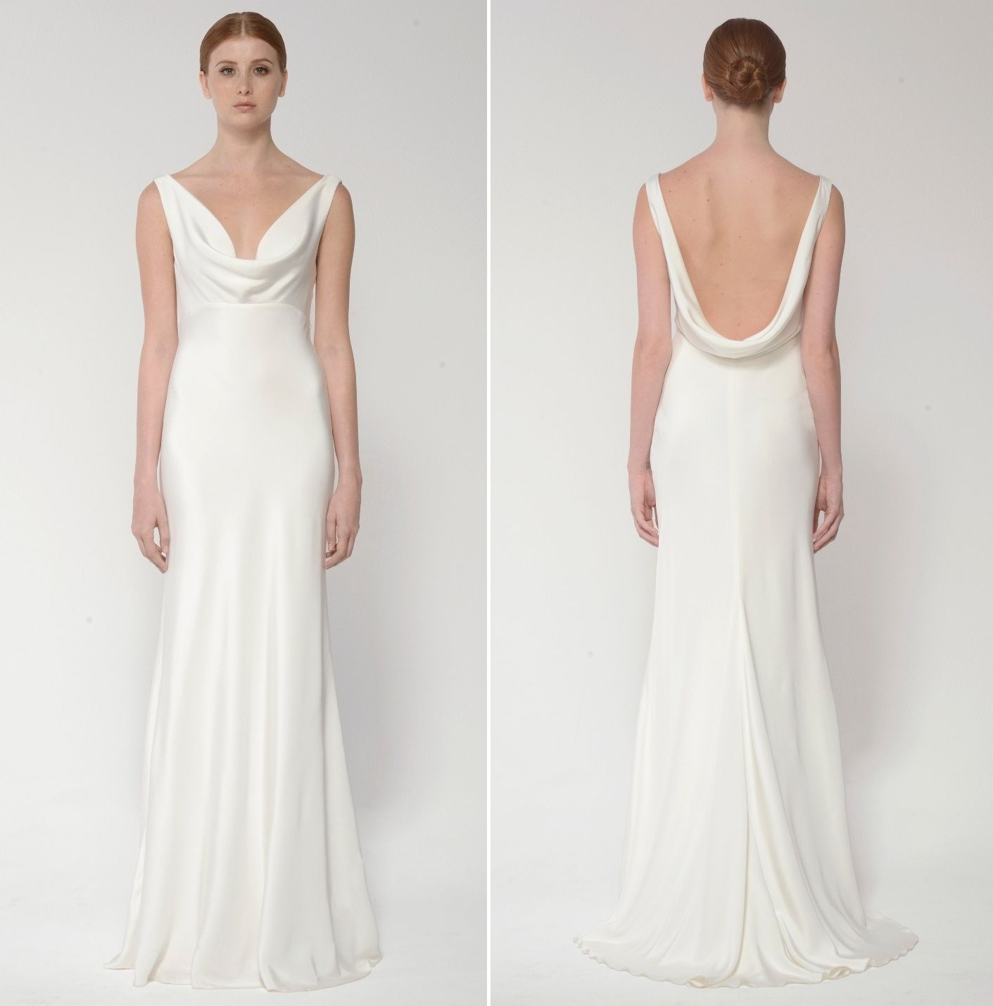 6303261015189 Cowl neck sheath wedding dress Monique Lhuillier Bliss Bridal Collection -  BL 1432 Duo
