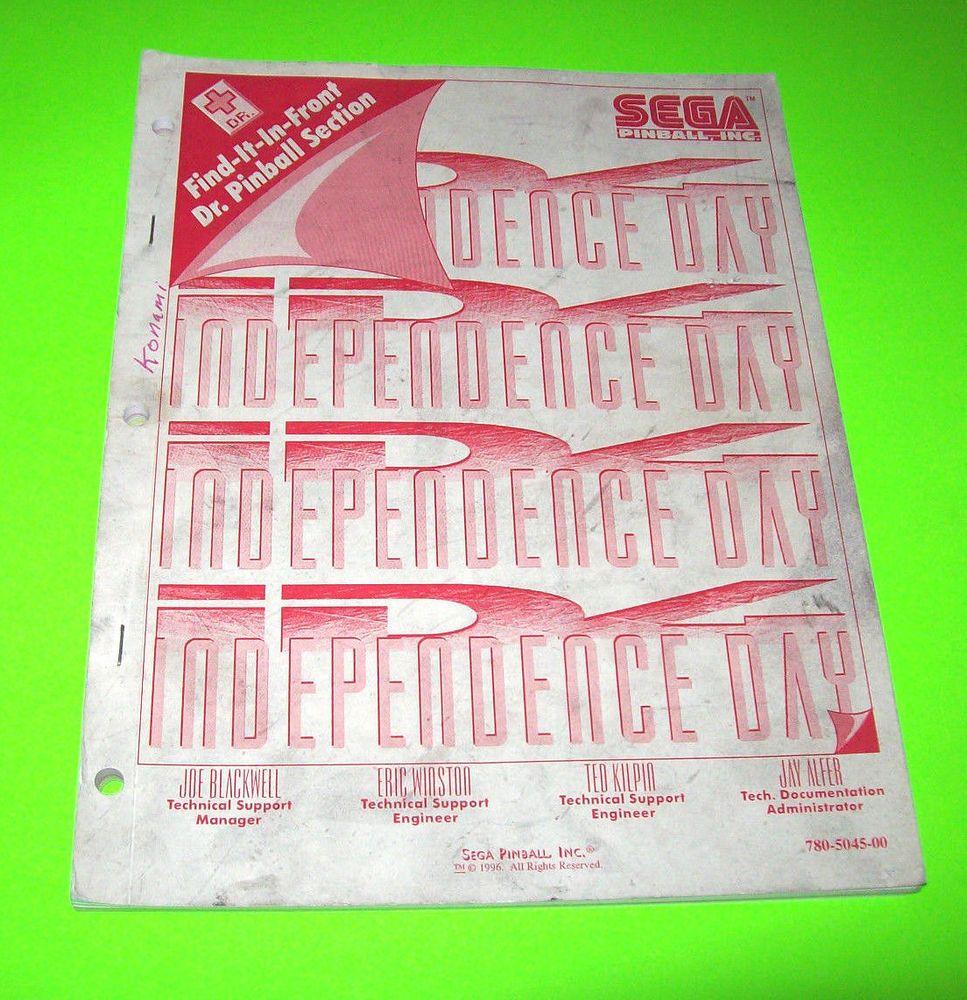 INDEPENDENCE DAY By SEGA 1995 ORIGINAL PINBALL MACHINE