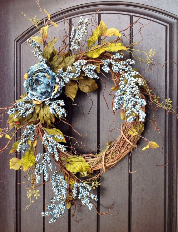 Photo of Spring wreath Summer wreath Autumn wreath Teal / Blue Berry Twig Grapevine door wreath decor Use floral decorations indoor and outdoor decor all year round