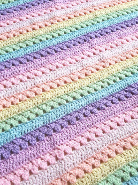 Pastel rainbow crochet blanket #babyblanket