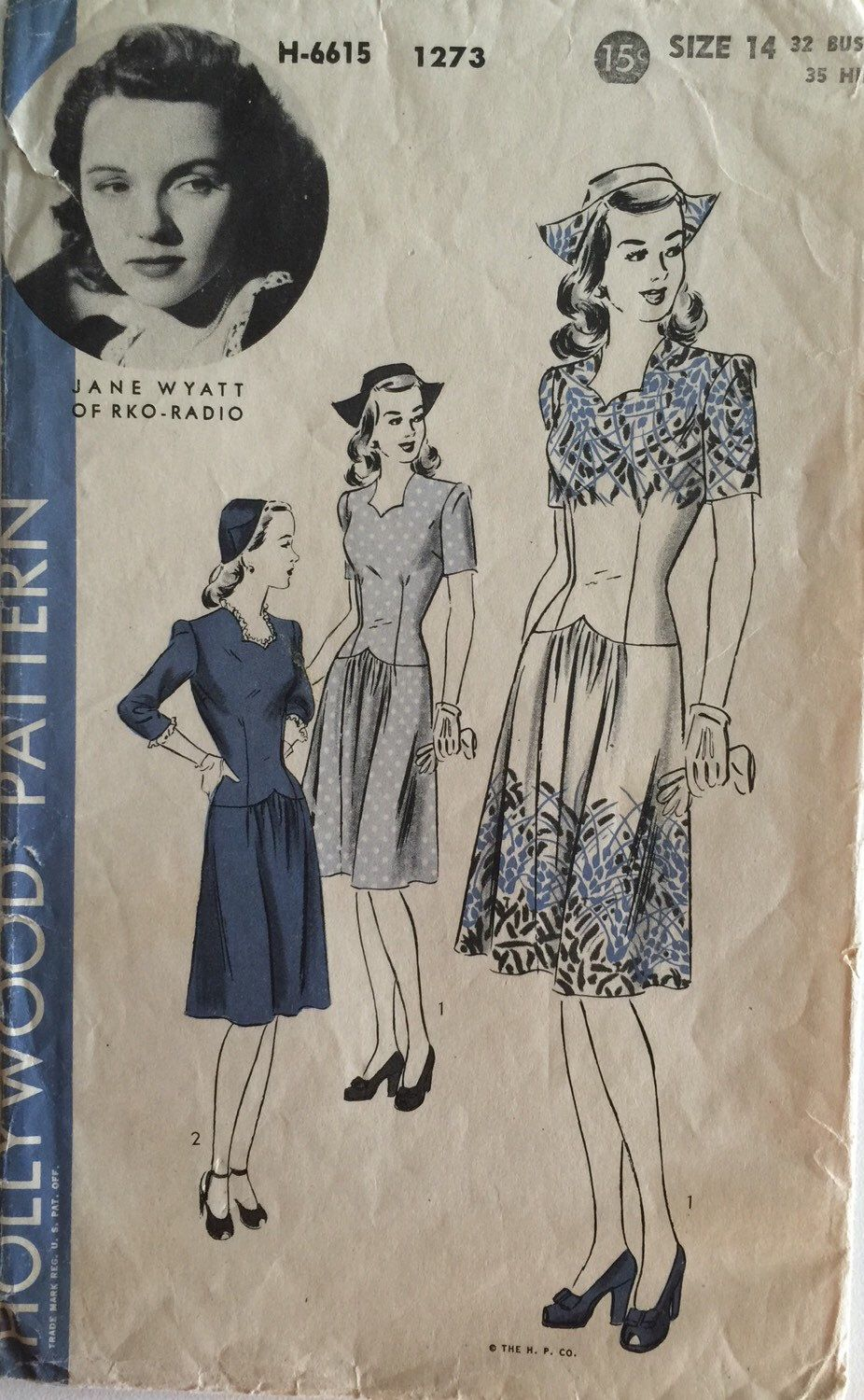 Vintage sewing pattern 40s hollywood pattern 1273 one piece dress vintage sewing pattern hollywood pattern one piece dress and cap jeuxipadfo Choice Image