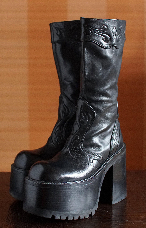a12baa8e91a ... sklepu  etsy  BUFFALO super high platform booties 90 s Club Kid Grunge Gothic  90s boots vintage killler boots chunky clubkid platform goth retro punk