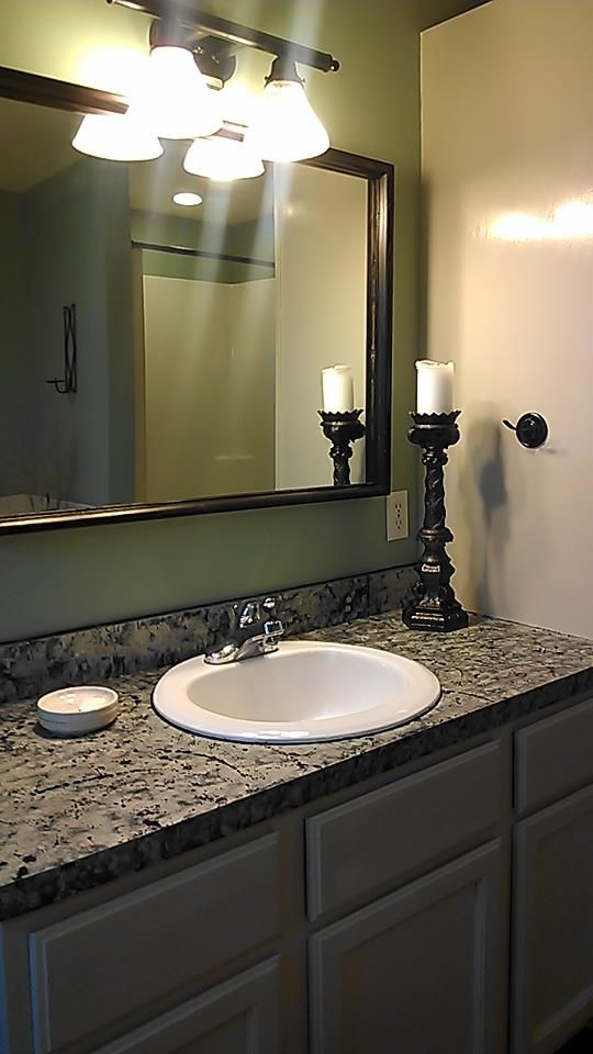Awesome Websites Painted countertop new mirror from second hand painted spray painted the candle holder