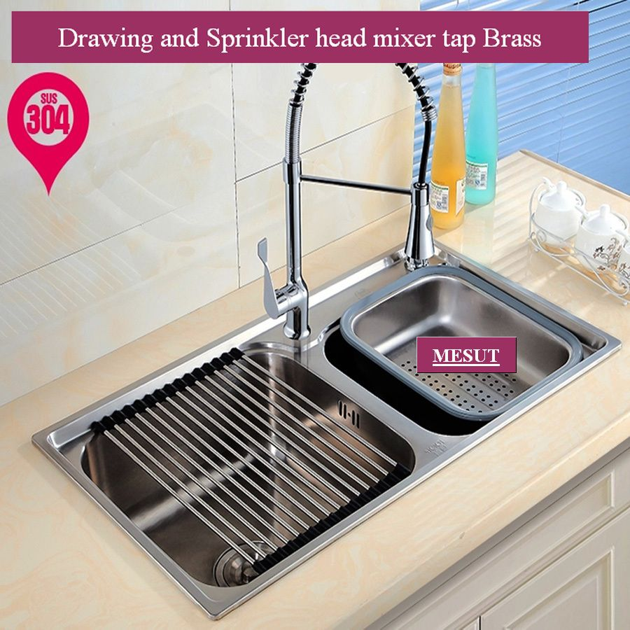 304 stainless steel brushed thicken double kitchen sink with faucet 304 stainless steel brushed thicken double kitchen sink with faucet more sizes accessories complete 72 workwithnaturefo
