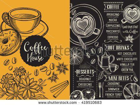 Coffee Menu Placemat Food Restaurant Brochure Coffee Shop