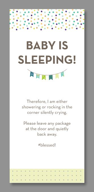 image regarding Printable Baby Sleeping Sign Front Door named Pin upon Babes❤