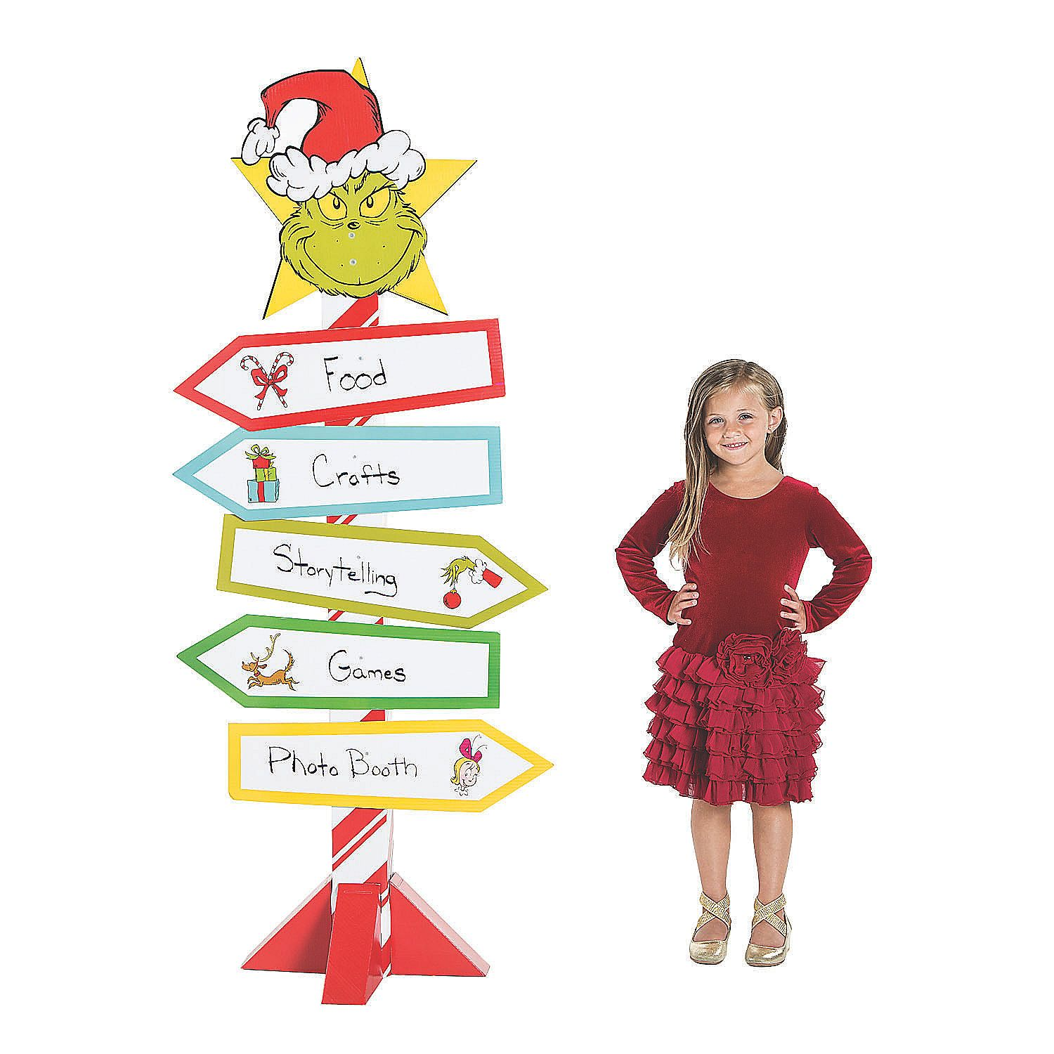 Dr Seuss The Grinch Directional Sign Cardboard Stand Up Holiday Party Kids Whoville Christmas Whoville Christmas Decorations