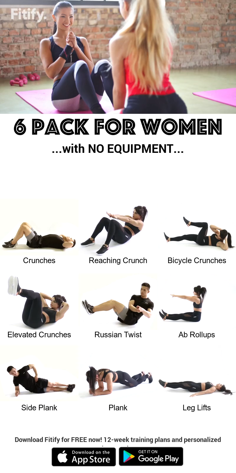 Women 6-Pack using NO Equipment -   17 workouts for flat stomach in 1 week ideas