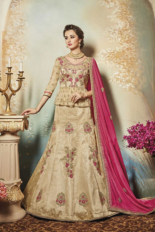 cac145f5862f5c Beige Royal Art Silk Long Blouse Lehenga Suit | Saris, Lenghas ...