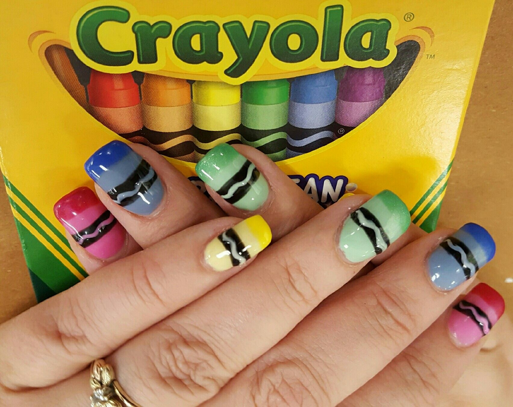 Crayola Back to School nails | School | Pinterest | NAIL ART ...