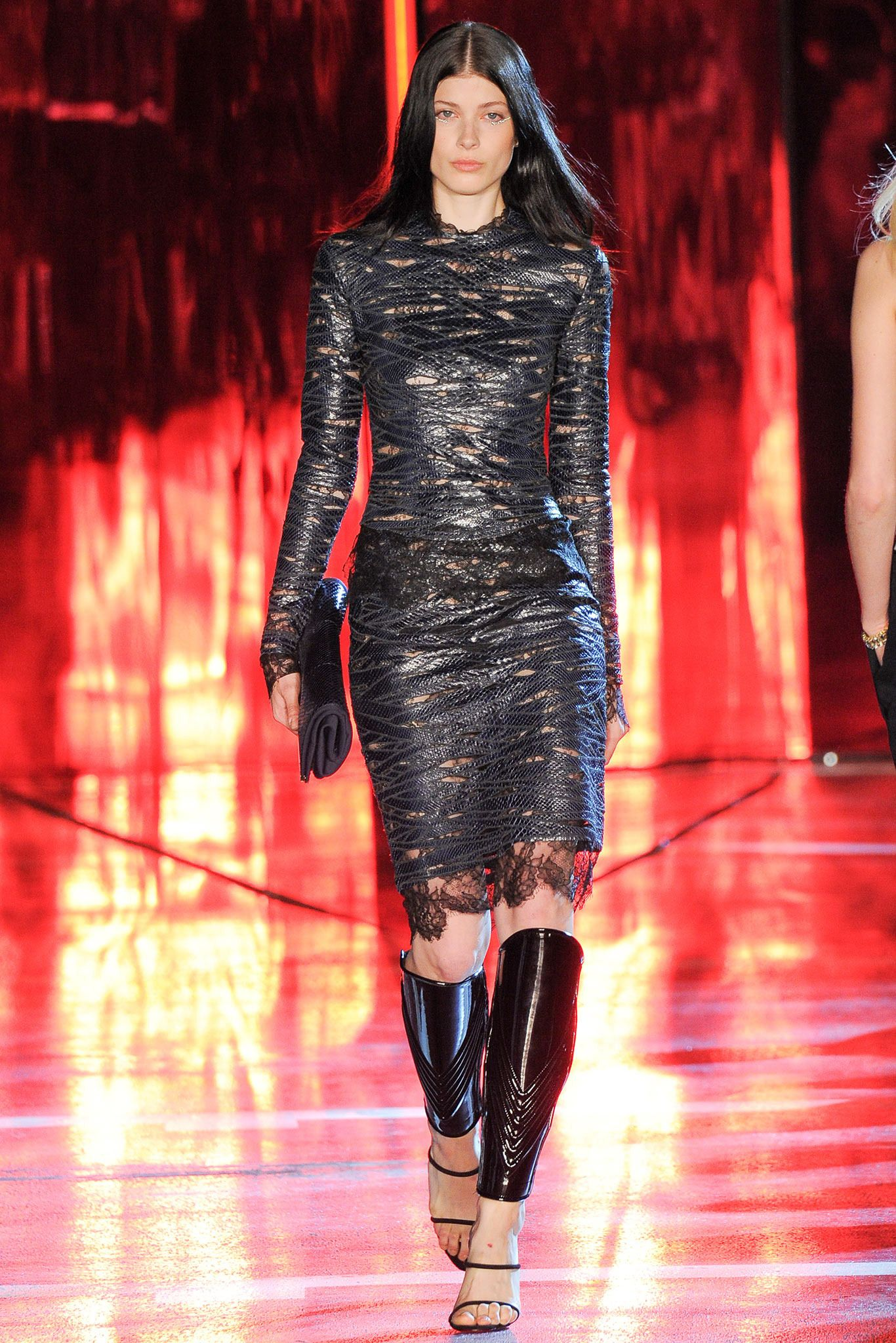 Alexandre Vauthier | Fall 2014 Couture | 5 Black leather long sleeve mini dress with lace inserts