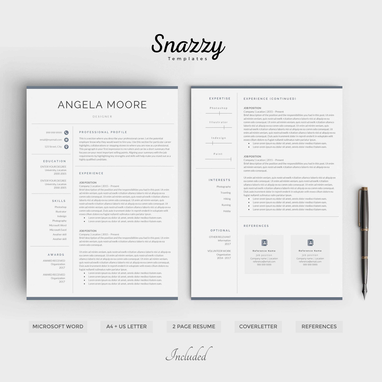 Resume Template Etsy Resume Template Resume Template Word Resume Templates