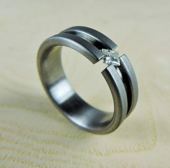 Wedding Ring Titanium And Moissanite Tension Set By RobandLean