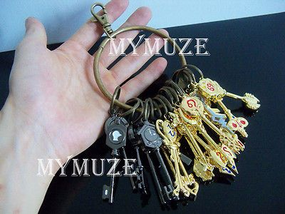 25Pcs Fairy Tail Lucy Heart Key Chain with Keyring Celestial Spirit Gate Keys in Other | eBay