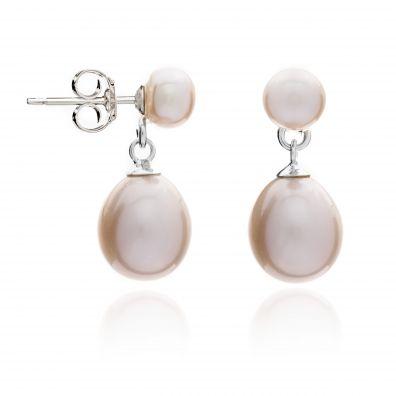 Pink button freshwater pearl stud with teardrop earrings