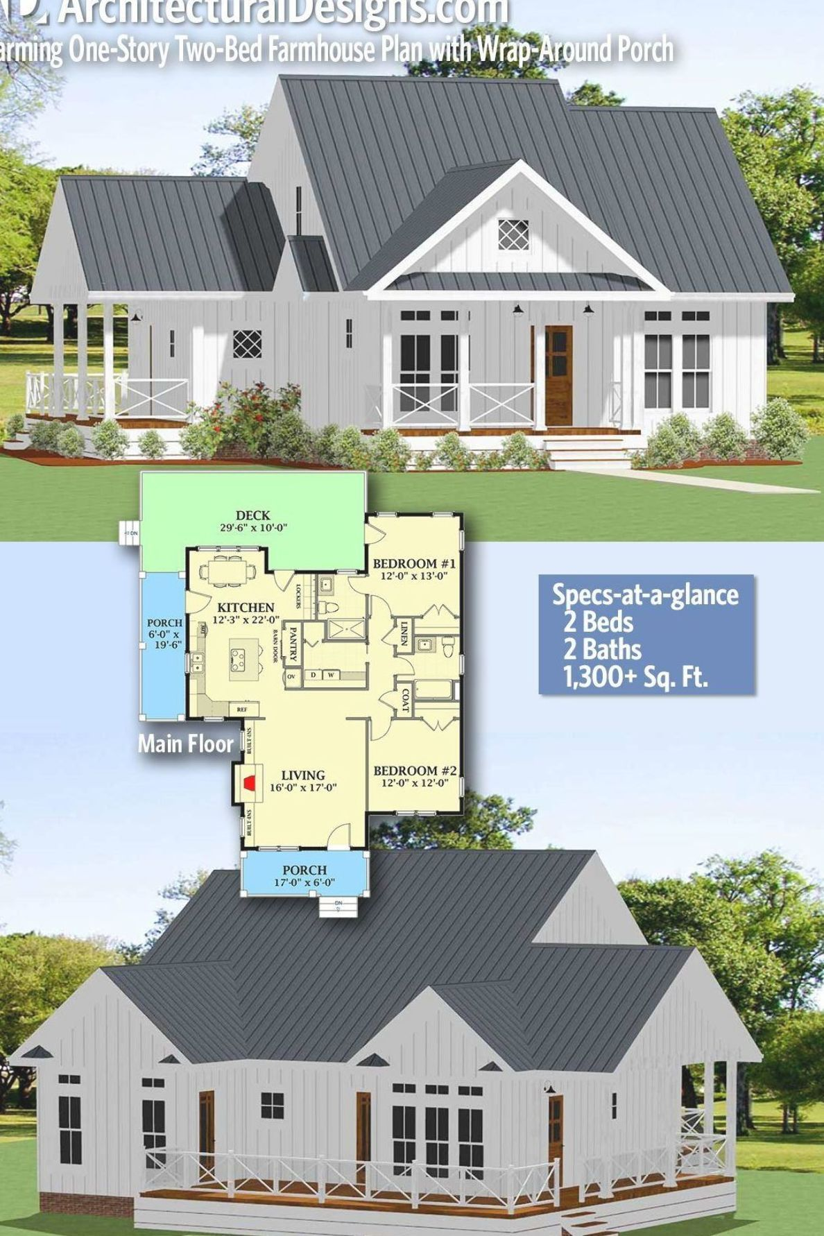 Architectural Designs Farmhouse Plan 46367la Gives You 2 Bedrooms 2 Baths And 1 300 Sq Ft Read In 2020 Small Farmhouse Plans Farmhouse Plans Farmhouse Floor Plans