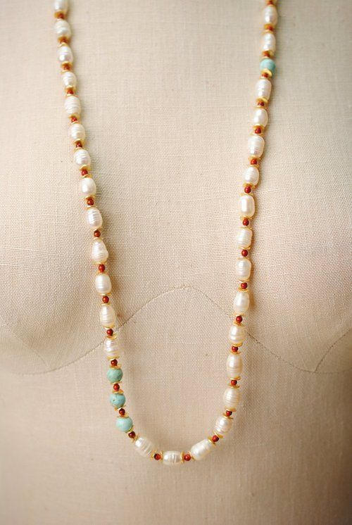 """Sienna 35.5-37.5"""""""" Pearl, Chalk Turquoise, Red Jasper Necklace"""