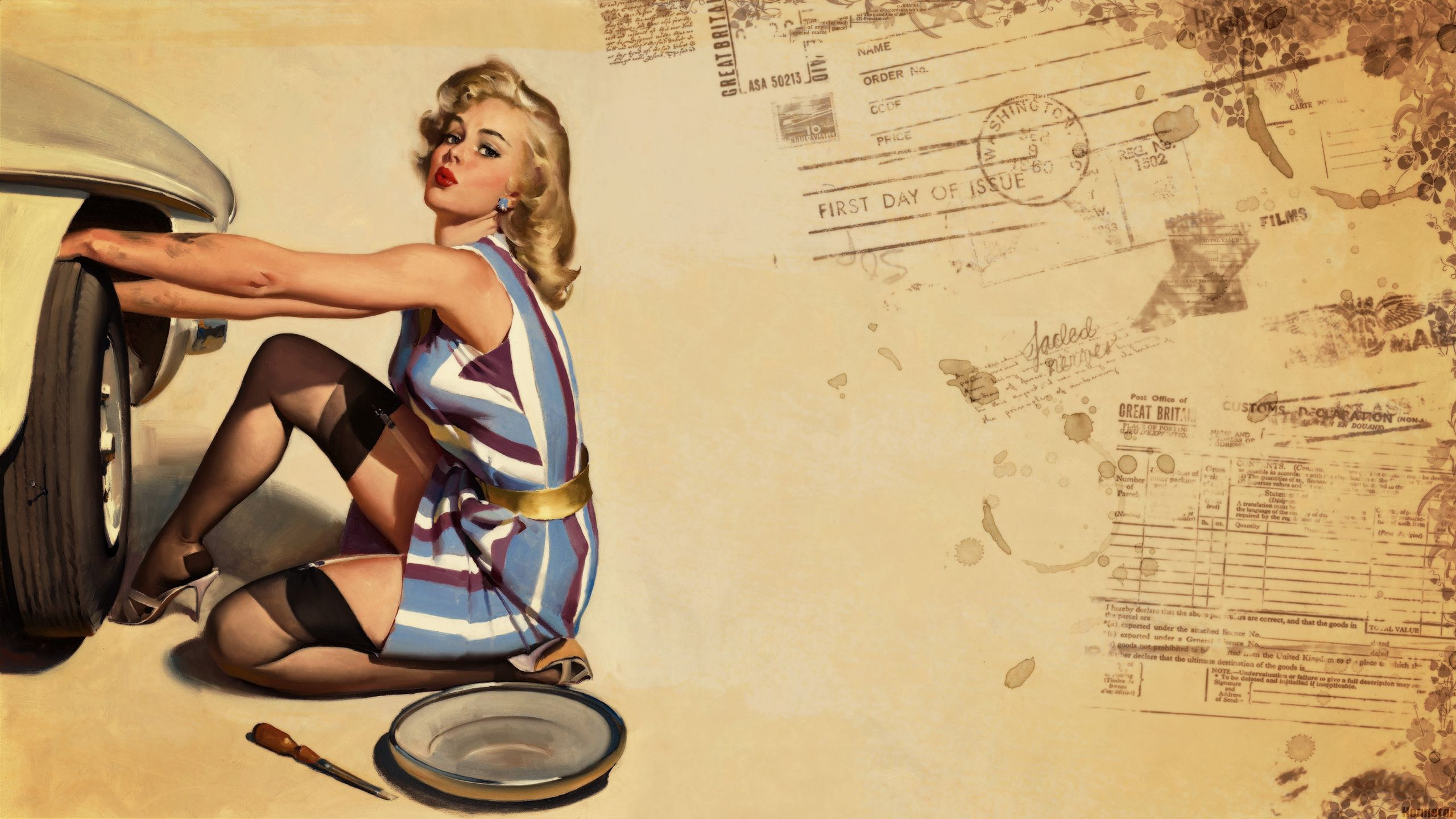 Pin-up Wallpaper, Styl...