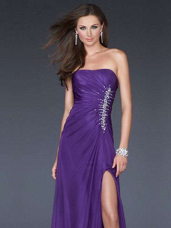 Column Purple Strapless High Slit Open Back Long Prom Dress With ...