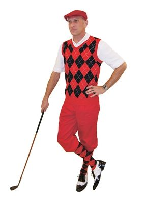 752d9663 Men's Complete Golf Knickers Outfit include the red knickers and cap with  the matching red/black/white argyle sweater vest and socks.