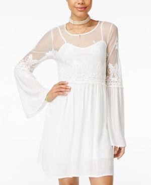 Trixxi Juniors' Embroidered Mesh Shift Dress - Tan/Beige XL