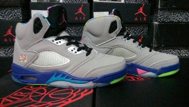 Authentic nike air jordan retro 5 v woshoe grey blue basketball shoe online