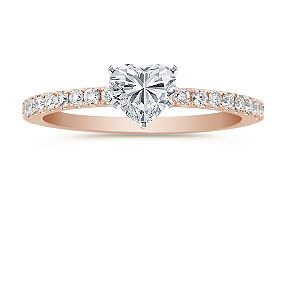 3 3 3 Rosegold Diamonds Heart Round Diamond Engagement Rings